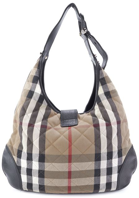 BURBERRY Beige Check Shoulder Bag Handbag