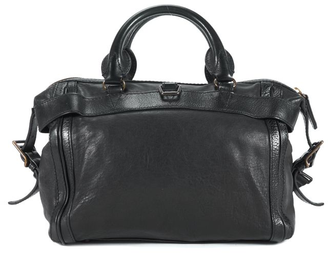 BURBERRY Black Leather Buckle Satchel Shoulder Bag Handbag