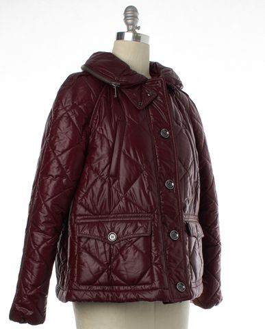 BURBERRY BRIT Burgundy Red Puffer Coat