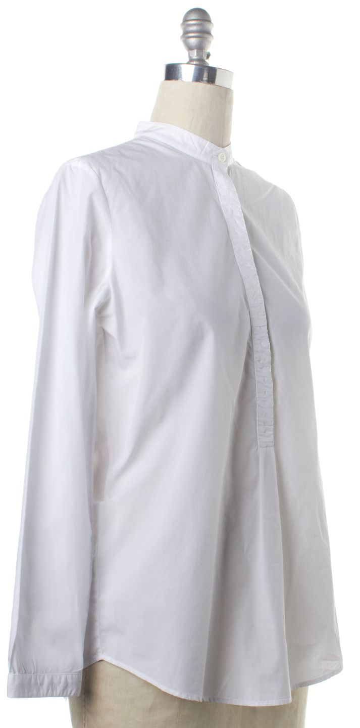 BURBERRY BRIT White 1/2 Button Down Cotton Tunic Shirt