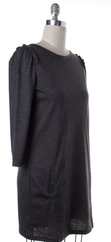 BURBERRY BRIT Gray Wool Jersey Ruffle Trim Shift Dress W Pockets