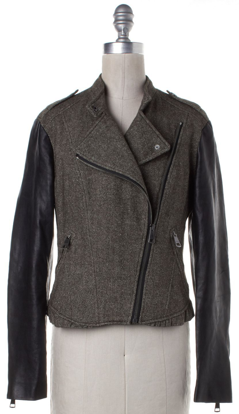 BURBERRY BRIT Olive Green Linen Motorcycle Jacket