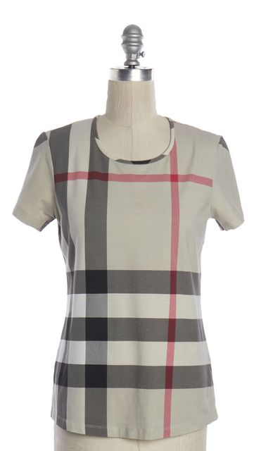 BURBERRY BRIT Beige House Check Plaid Basic Tee T-Shirt