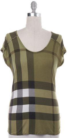 BURBERRY BRIT Green House Check Print Basic Inside Out Seams Tee T-Shirt