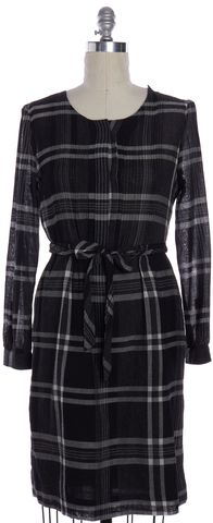 BURBERRY BRIT Gray White Plaid Wool Pleated Belted Sheath Dress