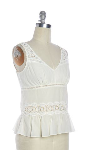 BURBERRY BRIT Ivory Lace Crochet Top