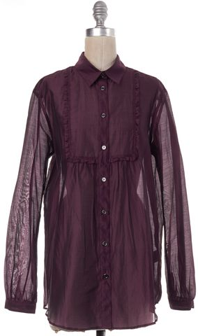 BURBERRY BRIT Purple Cotton Silk Sheer Button Down Shirt Top