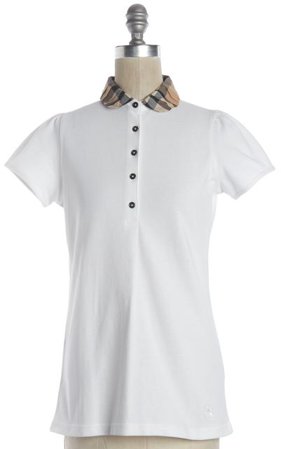 BURBERRY BRIT White Cotton Pique Polo Plaid Collar Shirt Top