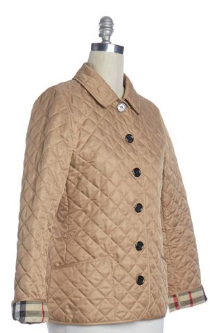 BURBERRY BRIT Beige Quilted Snap Button Down Jacket