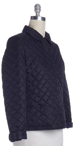 BURBERRY BRIT Navy Blue Quilted Snap Button Down Jacket