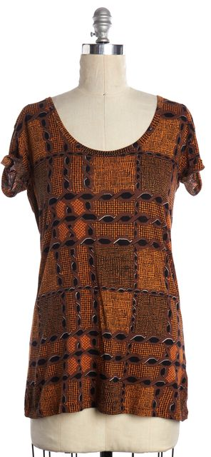 BURBERRY BRIT Brown Graphic Print Scoop Neck T-Shirt