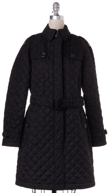 BURBERRY BRIT Black Quilted Button Up Long Jacket