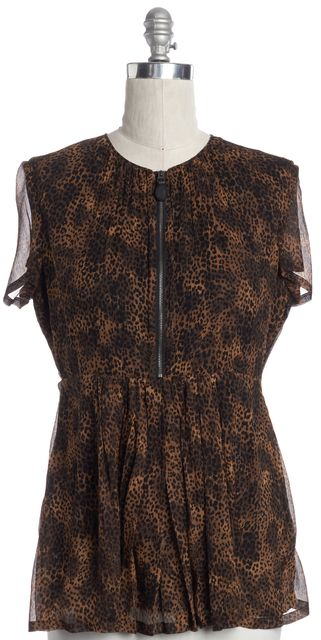 BURBERRY BRIT Black Animal Print Leopard Zipped Front Silk Blouse Top