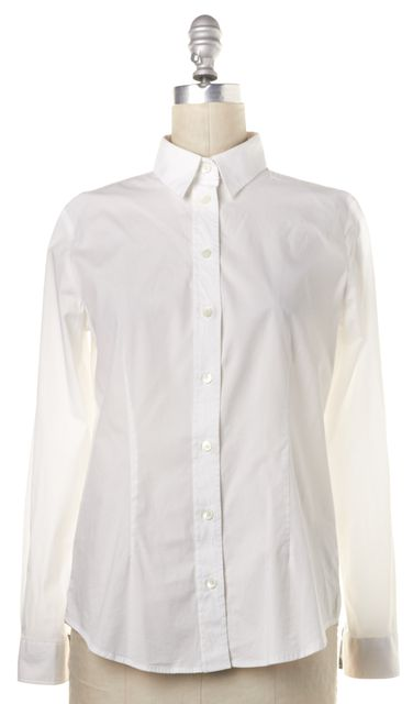 BURBERRY BRIT White Cotton Long Sleeve Button Down Shirt Top