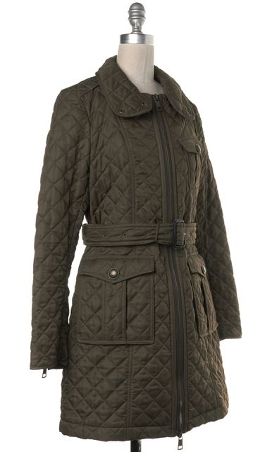 BURBERRY BRIT Olive Green Check Lined Diamond Quilted Belted Basic Jacket
