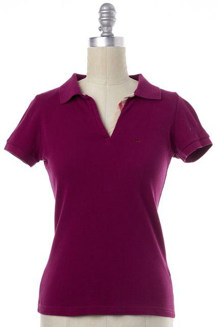 BURBERRY BRIT Plum Purple 100% Cotton Short Sleeve Polo Shirt Top