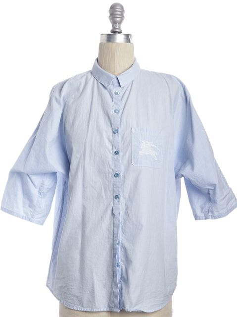 BURBERRY BRIT Blue White Striped Button Down Shirt