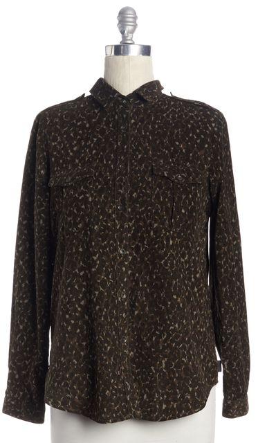 BURBERRY BRIT Brown Leopard Print Button Down Shirt