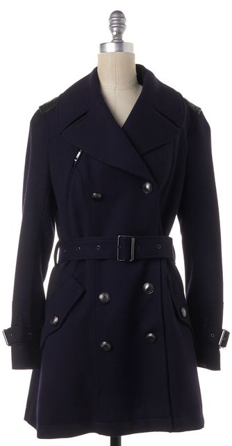 BURBERRY BRIT Navy Black Leather Wool Blend Belted Double Breasted Trench Coat