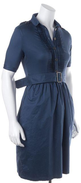 BURBERRY BRIT Blue Stretch Cotton Belted Short Sleeve Shirt Dress