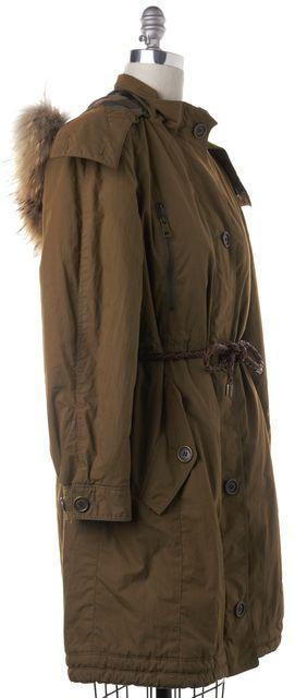 BURBERRY BRIT Olive Green Drawstring Waist Fur Trim Parka Coat