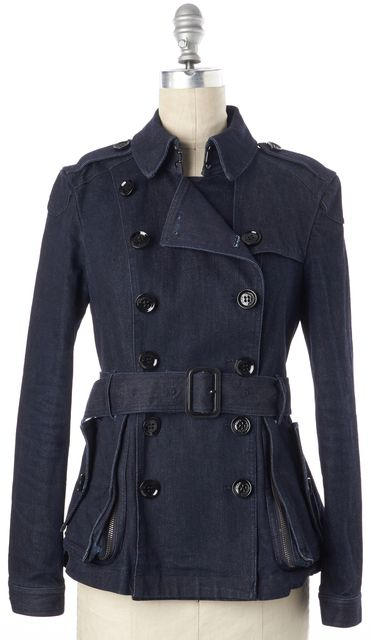 BURBERRY BRIT Denim Double Breasted Belted Trench Jacket