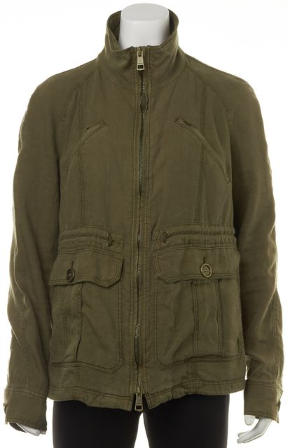 BURBERRY BRIT Green Linen Zip Up Pocket Front Military Style Jacket