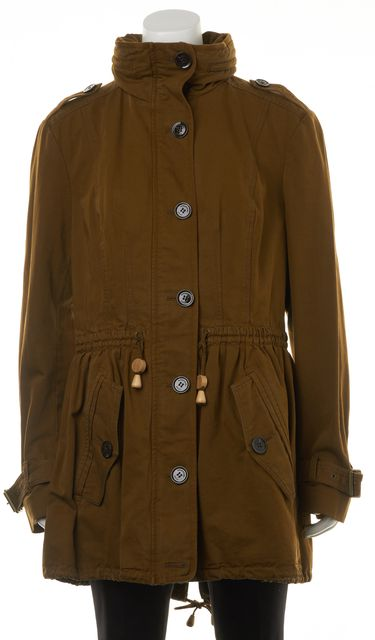 BURBERRY BRIT Amber Brown Drawstring Hooded Basic Jacket