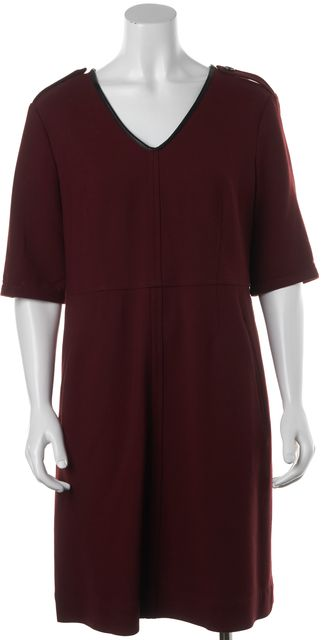BURBERRY BRIT Burgundy Wine Red Black Trim Casual Wool Shift Dress