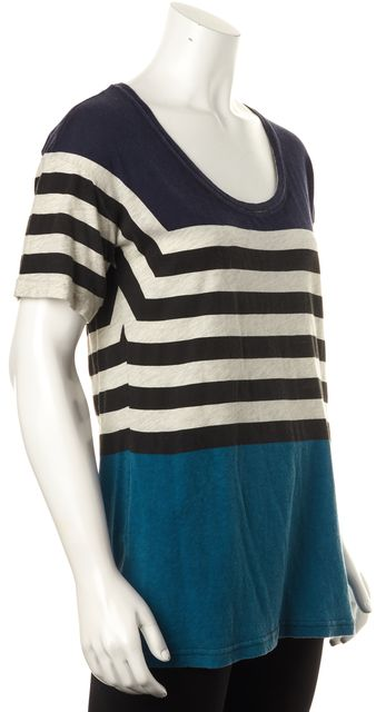 BURBERRY BRIT Blue Gray Striped Short Sleeve Basic T-Shirt