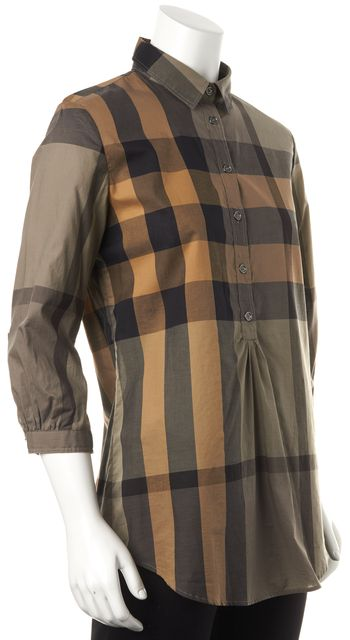 BURBERRY BRIT Brown Gray Plaid 3/4 Sleeve Button Down Shirt Top