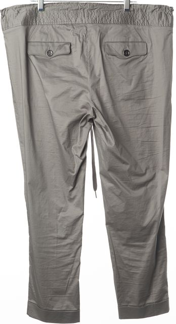 BURBERRY BRIT Gray Cotton Drawstring Waist Cuffed Cropped Pants