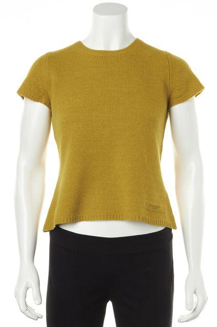 BURBERRY BRIT Mustard Yellow Wool Knit Crewneck T-Shirt Sweater
