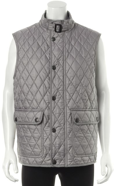 BURBERRY BRIT Gray Plaid Check Lined Casual Quilted Vest Outerwear