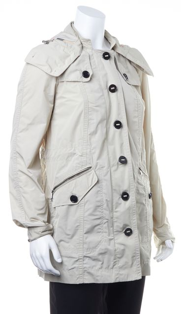 BURBERRY BRIT Beige Casual Zip Front Hooded Classic Basic Jacket