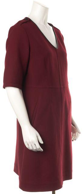 BURBERRY BRIT Burgundy Red Stretch Wool Leather Trim Sheath Dress