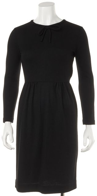 BURBERRY BRIT Black Wool Long Sleeve Knee Length Sheath Dress