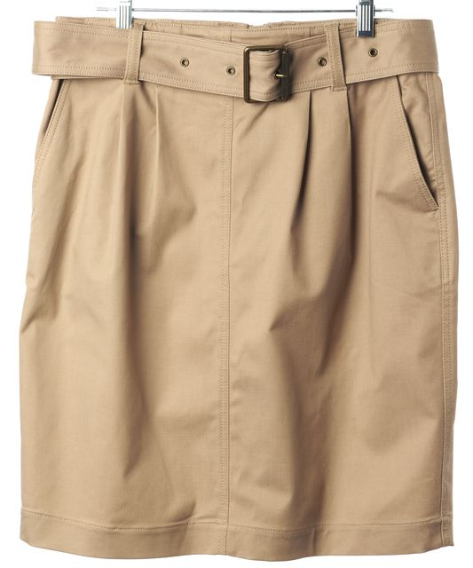 BURBERRY BRIT Beige Belted Side Pockets Above Knee Straight Skirt