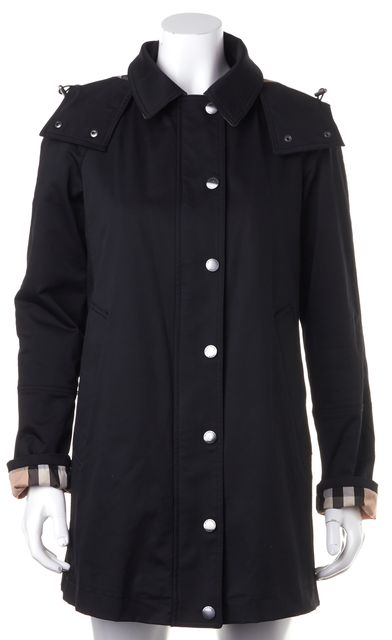 BURBERRY BRIT Black Removable Hood Check Lined Raincoat Jacket