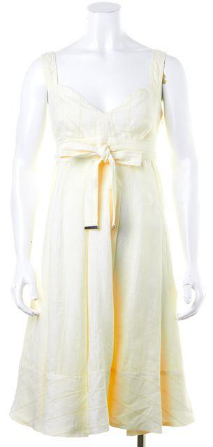 BURBERRY BRIT Ivory Linen Empire Waist Dress