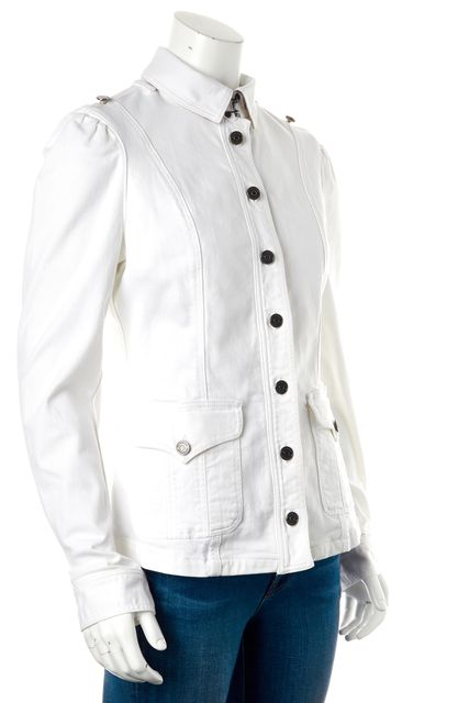 BURBERRY BRIT White Button Up Denim Jacket