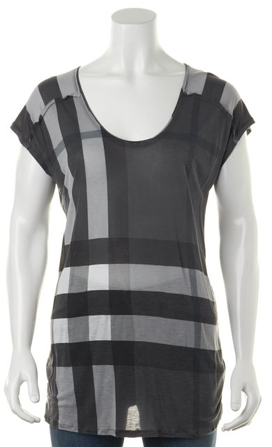 BURBERRY BRIT Gray White Plaid Basic Relaxed Fit Scoop Neck Tee T-Shirt