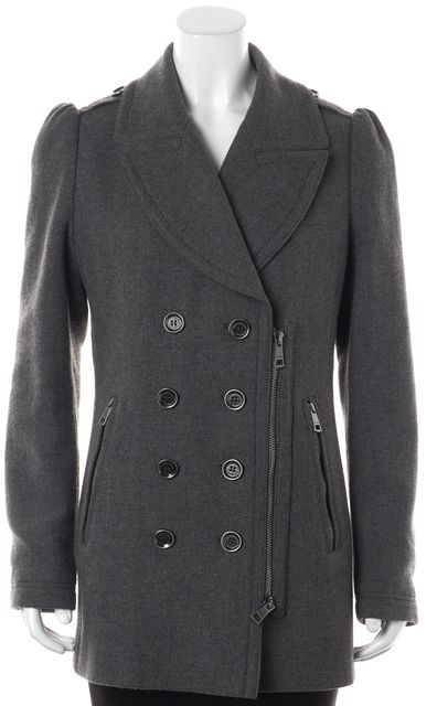 BURBERRY BRIT Wool Gray Four Button Double Zip Pocket Peacoat