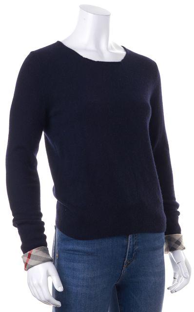 BURBERRY BRIT Navy Blue Cashmere Crewneck Sweater