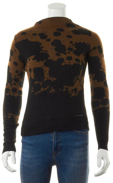 BURBERRY BRIT Tan Brown Abstract Print Wool Knit Mock Neck Sweater