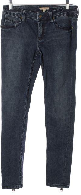 BURBERRY BRIT Blue Denim Ankle Zip Super Skinny Leggings Jeans