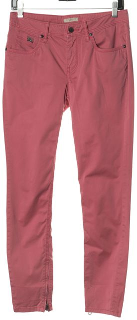 BURBERRY BRIT Pink Bayswater Skinny Zip Chinos Pants