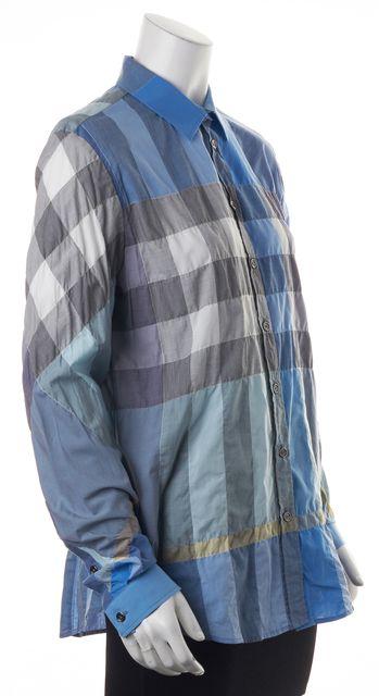 BURBERRY BRIT Blue Topaz Gray Plaid Button Down Shirt Top