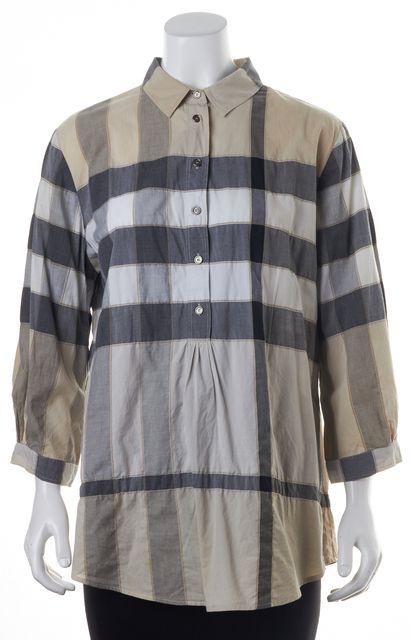 BURBERRY BRIT Beige Gray White Plaid Button Front Blouse Top