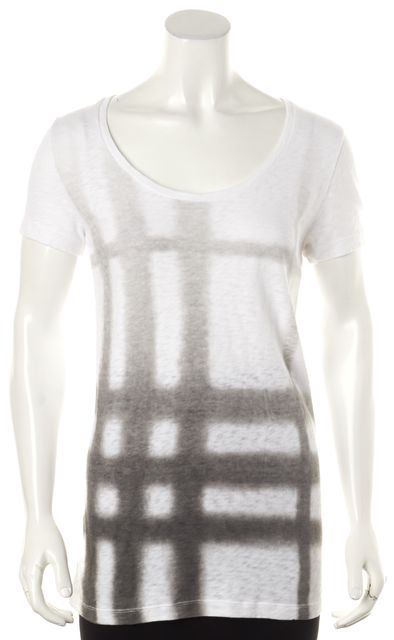 BURBERRY BRIT White Gray Plaid Scoop Neck Short Sleeve Basic T-Shirt